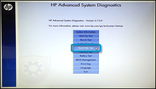 HP Advanced System Diagnostics screen with Hard Disk Test selected