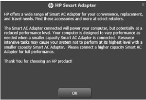 Smart Adapter message - reduced performance