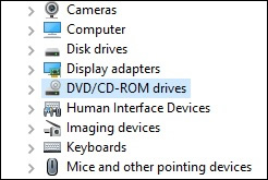 Device Manager DVD/CD-ROM drives