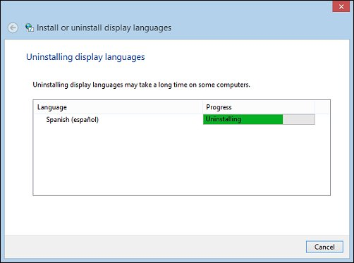 Immagine di Windows durante la disinstallazione di un Language Pack