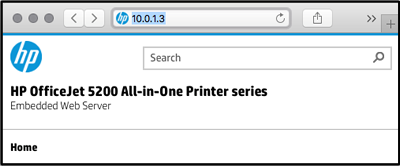 Example IP address for the printer typed in the browser