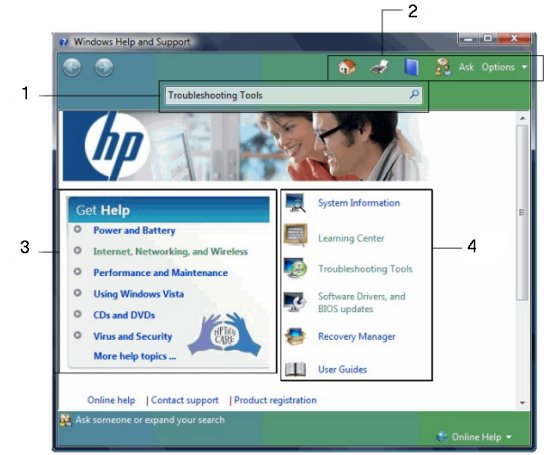 Hp notebook pcs hp supportability tools in hp help and support.