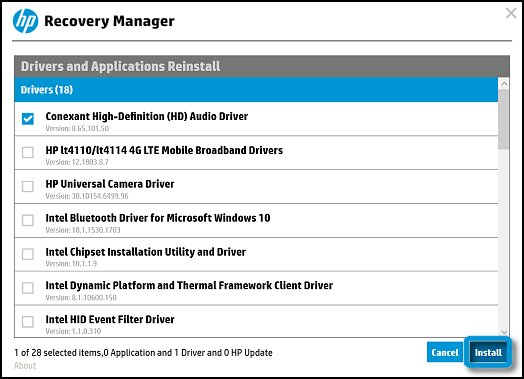 Install audio driver in HP Recovery Manager