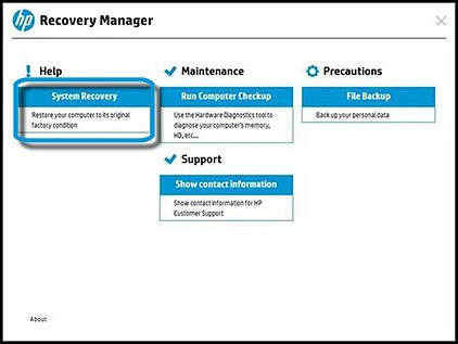 Recovery Manager with Help and System Recovery selected