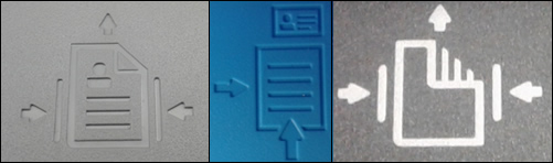 Examples of printer graphics showing the direction to load documents into the document feeder