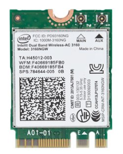 Top view of the wireless card