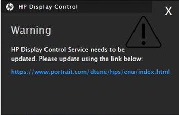 HP Display Control Service update warning