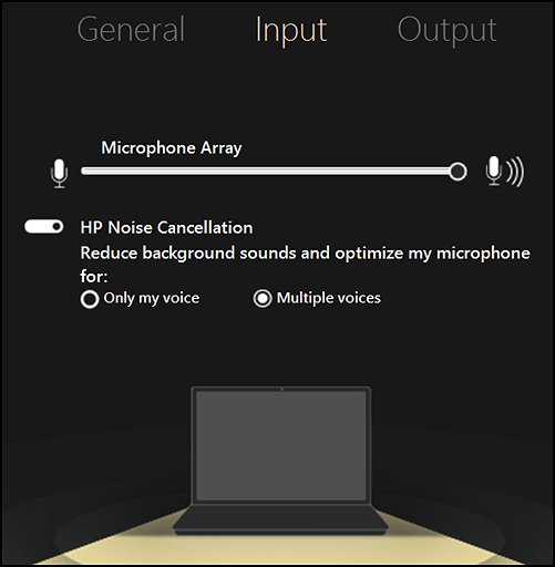 Input settings for microphone array and HP noise cancellation