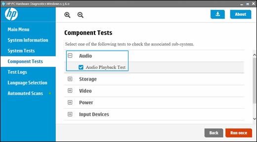 Component Test menu with Audio selected