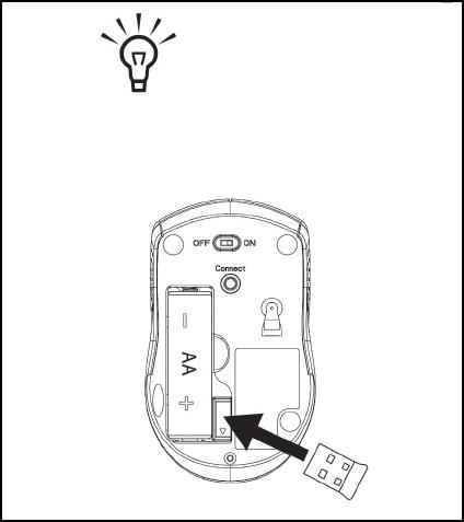 El receptor USB insertado en la ranura