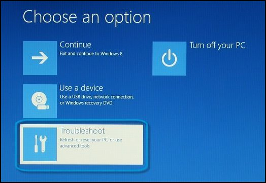 Choose an option screen, with Troubleshoot selected