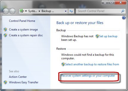Clicking recover system settings or your computer