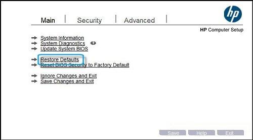 Image: Restore Defaults