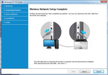 Image shows removing USB cable after network setup