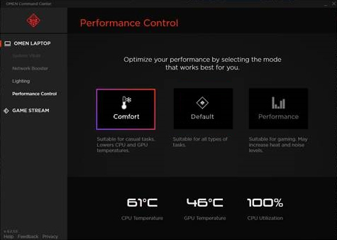 Performance Control screen set on Comfort