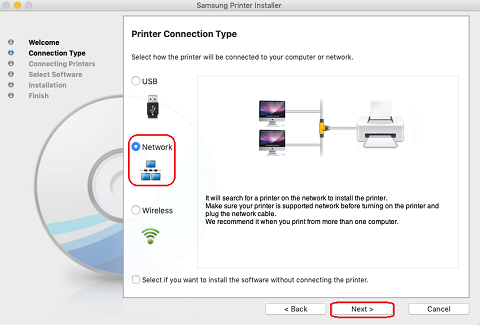 Image shows selecting to the network connected printer option.