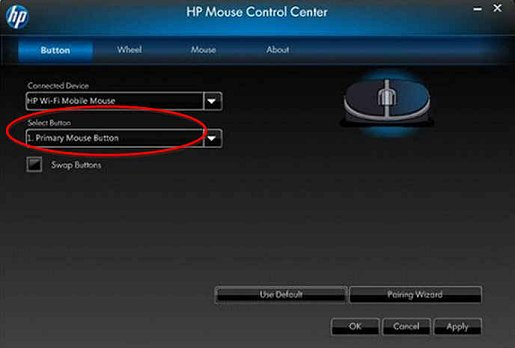 Image of the Mouse Control Center's Select Button option.