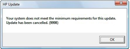 Error message from an HP update
