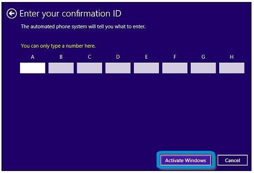 Botón Activar Windows en Escribir id. de confirmación
