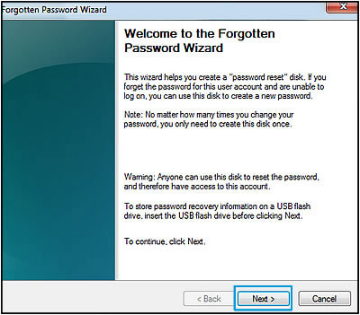 Clicking Next in the Forgotten Password Wizard screen