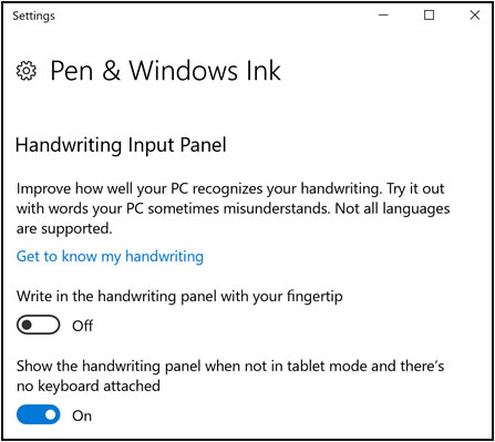 Handwriting Input Panel options on the Pen & Windows Ink Settings window