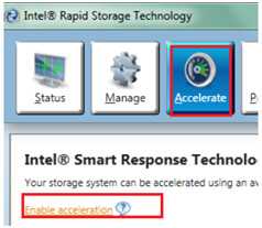 Intel Rapid Storage Technology window