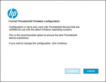 Image of the Current Thunderbolt Firmware configuration screen