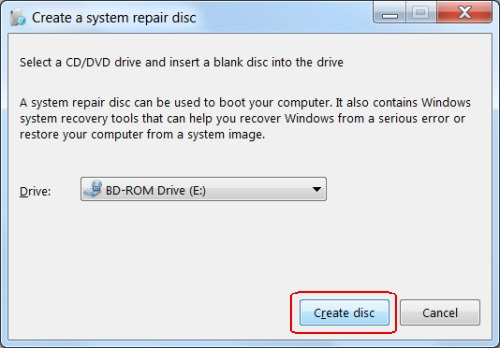 Creating a system repair disc