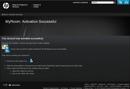 Image of HP Web page announcing successful activation of your MyRoom account