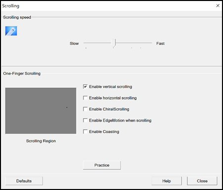 Scrolling settings window