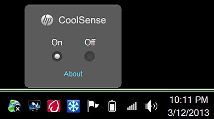Image of HP CoolSense configuration box displayed above task bar.