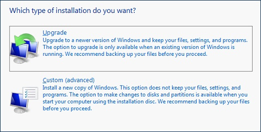 Which type of installation do you want?