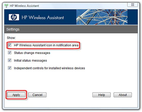 HP Wireless Assistant settings screen with selections