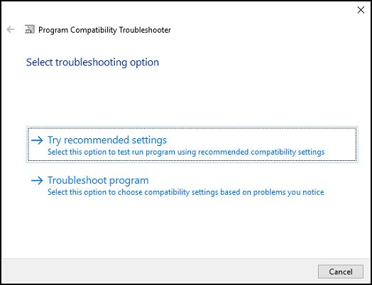 Selecting a troubleshooting option