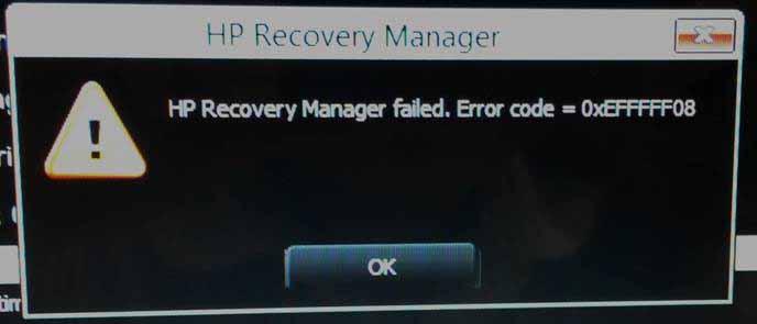 Hp Recovery Error