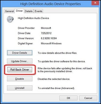 Image of the driver options for audio device properties