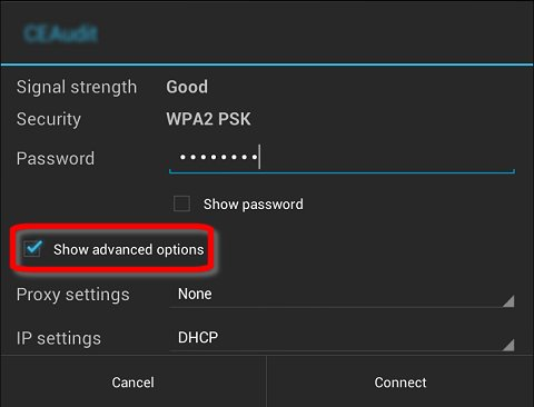 Exibir opções avançadas