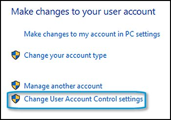 Change User Account Control settings selected