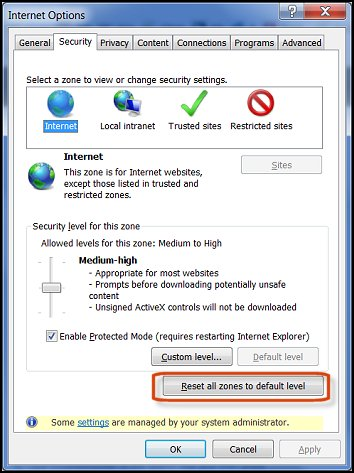 Changing security settings