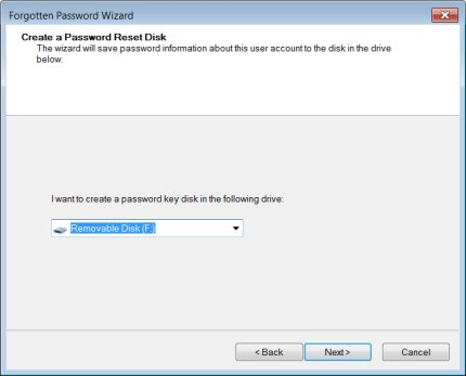 Select the removable drive to create a disk