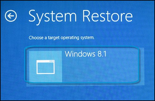 System Restore screen, with a target operating system selected