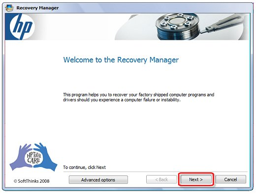 Image of the recovery manager welcome screen indicating selection