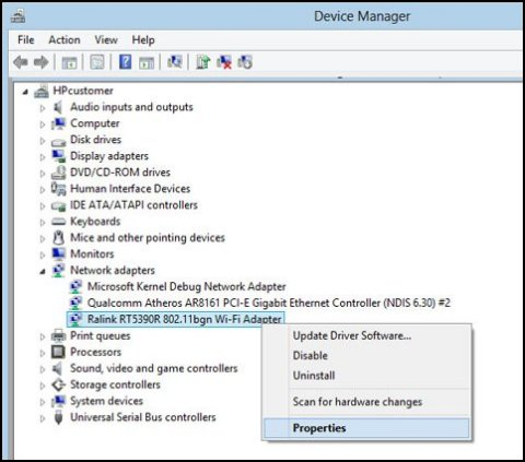 Device Manager window with adapter selected and Properties highlighted