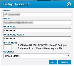 Janela do formulário Configurar conta
