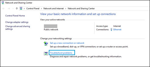 Selecting 'Troubleshoot problems' in the Network and Sharing Center window