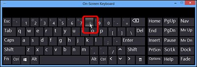 Example of the number 8 being selected using hover over keys  mode