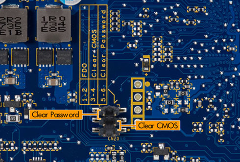 Clear CMOS and password pins