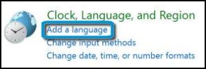 Reloj, idioma y región con la opción Agregar un idioma resaltada