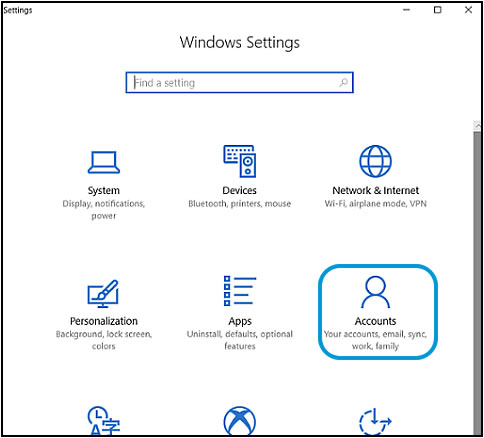 Settings window with Accounts selected