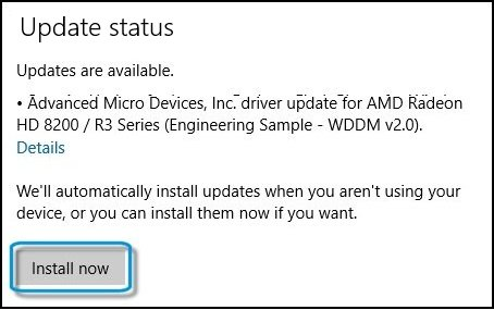 Windows Update screen with Install now selected